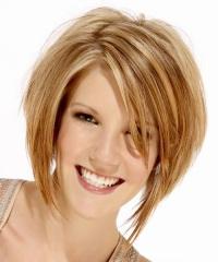 косая челка с длинными волосами