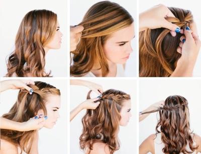Плетение из кос на тонкие волосы средней длины