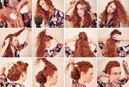 Прическа каждый день кучерявых длинных волос