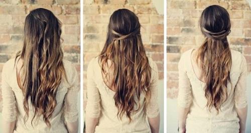 Прическа на длинные волосы повседневная своими руками