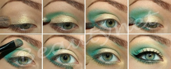 Как накрасить зеленые глаза тенями