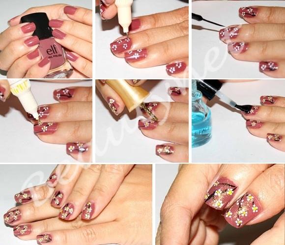 Как на ногтях нарисовать цветок