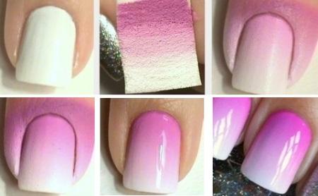 Как сделать на ногтях переход цвета