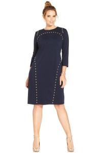 деловое прямое платье с рукавом три четверти для полных женщин