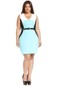 модные платья с принтом-обманкой для полных женщин