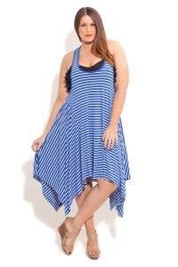 летние полосатые платья для полных женщин